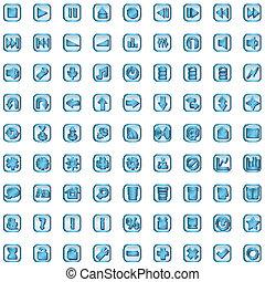 blue icon set isolated on white