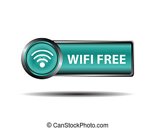 Blue Icon WiFi Free Sign Isolate