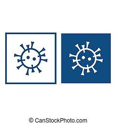 Blue icon with a drawn coronavirus