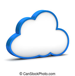 blue icon with cloud on a white background