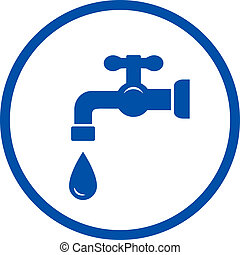 blue icon with faucet and drop - blue plumbing round icon...