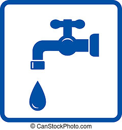 blue icon with faucet and tap