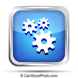 blue icon with gears