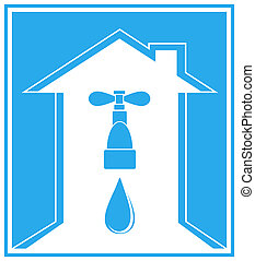blue icon with house,tap and arrow