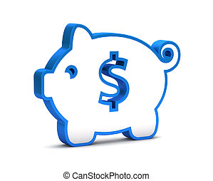 blue icon with piggy bank on a white background