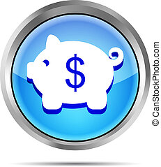 blue icon with piggy bank on white
