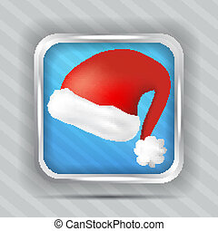 blue icon with santa claus hat