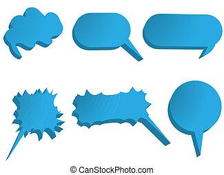 Blue icons  isolated on white background