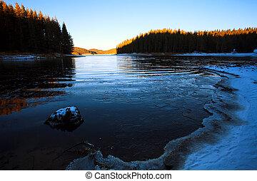 blue icy lake