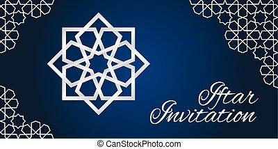 Violet iftar invitation invitation card with moroccan vector blue iftar invitation stopboris Image collections