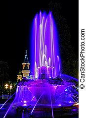 Blue illuminated fountain on the Plaza Opera in Timisoara 1