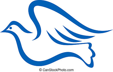 Blue illustration of a dove flying - Minimalist blue...