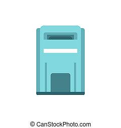 Blue inbox icon, flat style