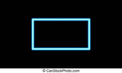 Blue Incandescent light bulb box frame rectangle shape blink...