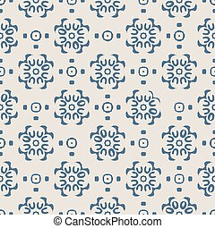 Blue Indian block print abstract floral seamless vector pattern background with stylised flowers for fabric, wallpaper, scrapbooking projects.