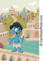 blue indian boy - Cartoon blue indian boy in front of a old...