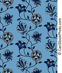 Blue Indian flowers chintz pattern - Stylized Indian floral ...