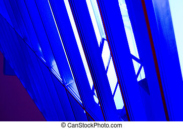 Blue industrial construction beams
