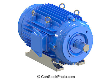 Blue industrial electric motor - Industrial electric motor...