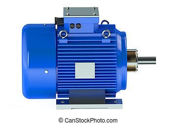 Blue industrial electric motor