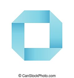 Blue infinite ribbon loop folded in a shape of square. 3D-like vector symbol. Modern icon design