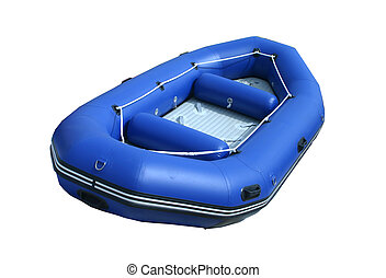 blue inflatable boat - isolated inflatable boat on white...