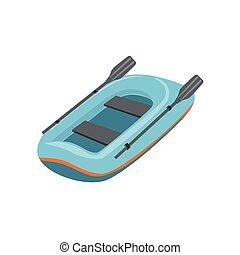 Blue Inflatable Dinghy Type Of Boat Icon. Simple Childish...