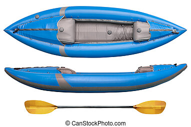 blue inflatable whitewater kayak - blue inflatable...