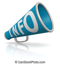 Blue info megaphone
