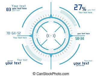 Blue infographics on white background