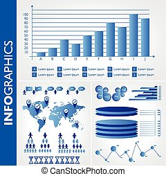 Blue infographics. Universal vector icons set. Statistic.