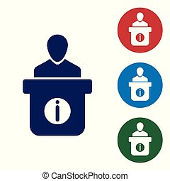 Blue Information desk icon isolated on white background. Man silhouette standing at information desk. Help person symbol. Information counter icon. Vector Illustration