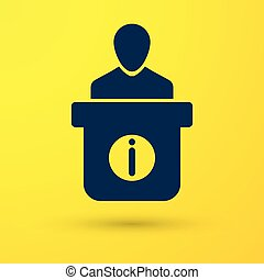 Blue Information desk icon isolated on yellow background. Man silhouette standing at information desk. Help person symbol. Information counter icon. Vector Illustration