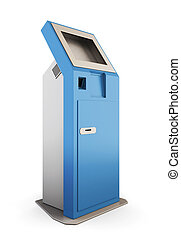 Blue information kiosk. Information terminal. 3d illustration.