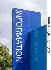 Blue information sign