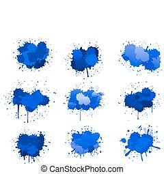 Blue ink blobs isolated on white for design