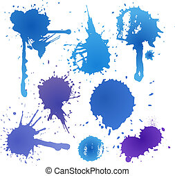 Blue ink blot collection