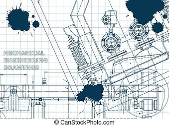 Blue Ink. Blots. Blueprint, scheme, plan, sketch. Technical illustrations, backgrounds. Mechanical engineering drawing. Machine-building industry. Instrument-making drawings