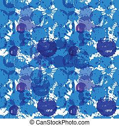 Blue ink blots seamless background
