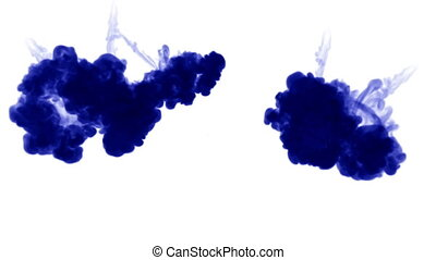 blue ink dissolves in water on white background with luma matte. 3d render of computer simulation. V6