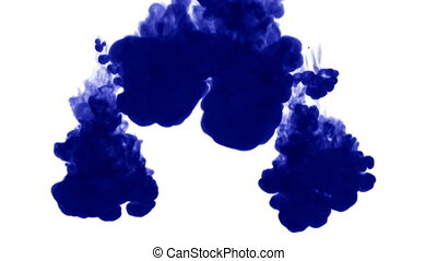 Blue ink dissolves in water on white background with luma...
