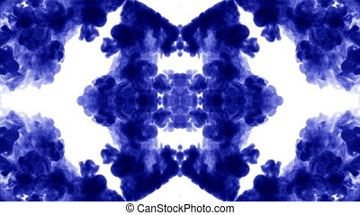 Blue ink dissolves in water on white background with luma matte. 3d render V2 kaleidoscope effect