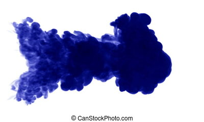 Blue ink dissolves in water on white background with luma matte. 3d render V20