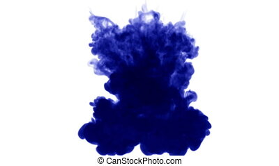 Blue ink dissolves in water on white background with luma matte. 3d render V23