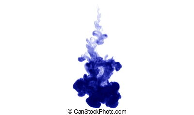 Blue ink dissolves in water on white background with luma matte. 3d render V28