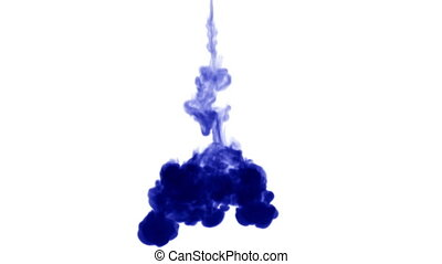 Blue ink dissolves in water on white background with luma matte. 3d render V29