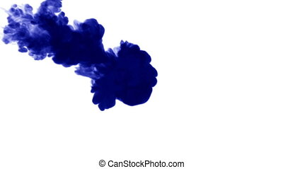 Blue ink dissolves in water on white background with luma matte. 3d render V30