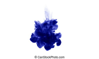 Blue ink dissolves in water on white background with luma matte. 3d render V32