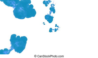 blue ink drop in water on a white background for effects. 3d render. voxel graphics. computer simulation 36