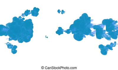 blue ink drop in water on a white background for effects. 3d...